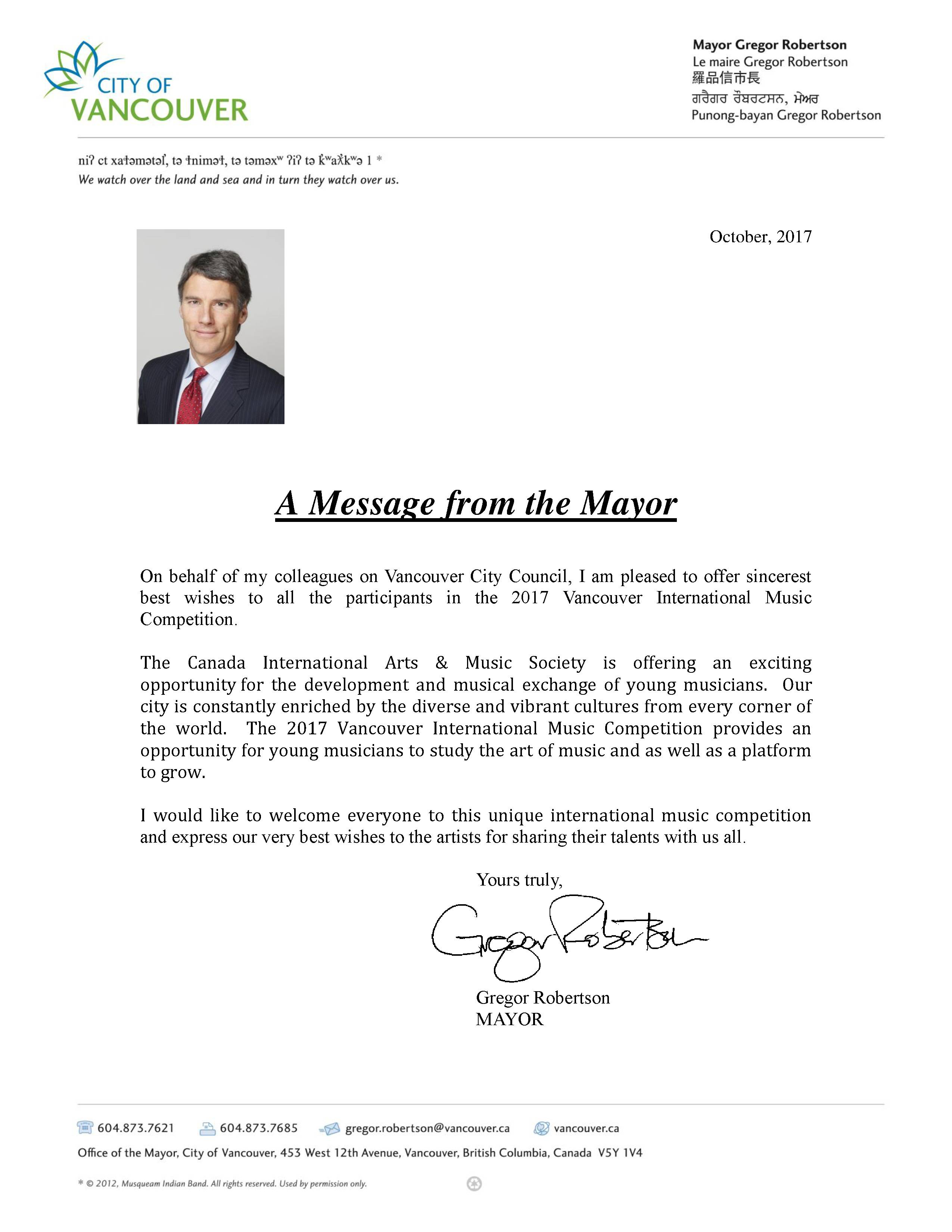 Vancouver Mayor Greeting Letter Vancouver International Music