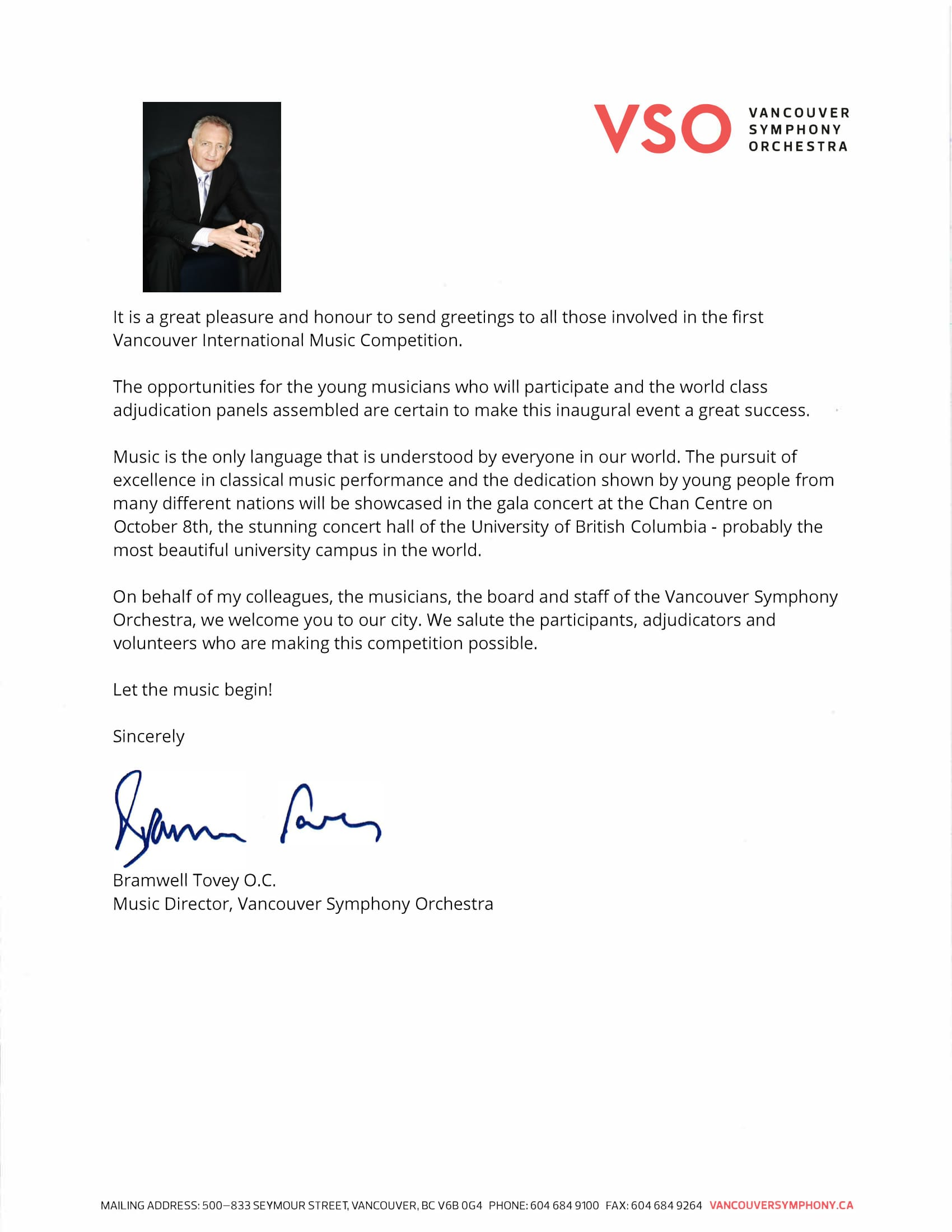 Greeting Letter From Mr Bramwell Tovey Vancouver International
