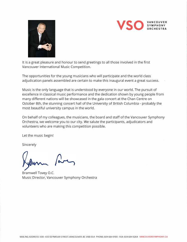 Greeting letter from Mr. Bramwell Tovey